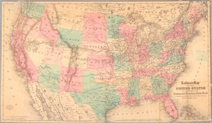 "Railroad map of the United States to accompany the ""Commercial travellers guide book""."