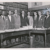 Thurgood Marshall and other members of the N.A.A.C.P. legal defense team who worked on the Brown v. Board of Education case.