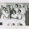 Little Rock Nine and friends at NAACP's 49th annual convention in Cleveland, left to right, standing: Terrence Roberts, Thelma Mothershed, Gloria Ray, Jefferson Thomas, Kivie Kaplan, Minnijean Brown, Ernest Green, Mrs. L.C. Bates, Dr. James E. Levy; seated, Carlotta Walls, Melba Patillo and Elizabeth Eckford.