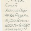Flyer advertising carpooling services to support the Montgomery bus boycott
