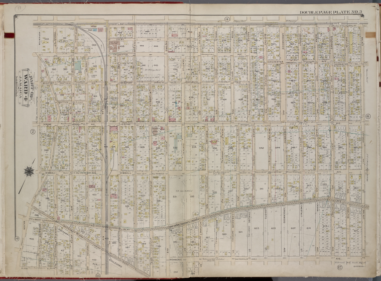 Queens, V. 1, Double Page Plate No. 3; Part of Jamaica, Ward 4; [Map bounded by Atlantic Ave., Walnut St., Roanoke Ave., Hopkinton Ave.]