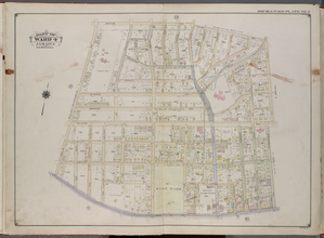 Queens, V. 1, Double Page Plate No. 9; Part of Jamaica, Ward 4; [Map bounded by Hutton Ave., Park Ave., Hardenbrook Ave., Fulton St., Kaplan Ave.]