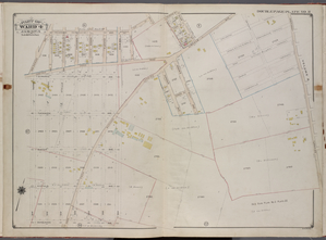 Queens, V. 1, Double Page Plate No. 11; Part of Jamaica, Ward 4; [Map bounded by Roanoke Ave., Allen St., Lincoln Ave., Rockaway Tpk., Van Wyck Ave., Warburten Ave., Maure Ave., Van Sicklen Ave.]