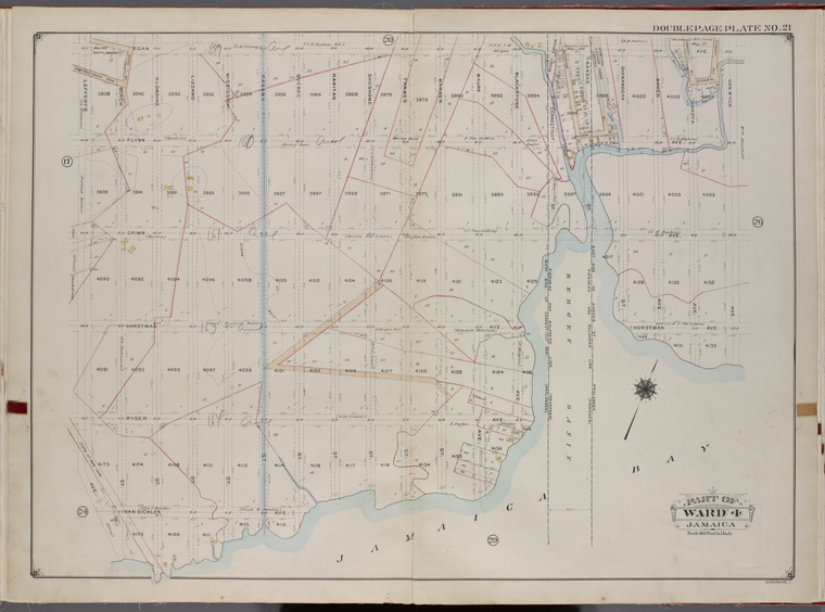 Queens, V. 1, Double Page Plate No. 21; Part of Jamaica, Ward 4; [Map bounded by Egan Ave., Van Wyck Ave., Jamaica Bay, Lefferts Ave.]