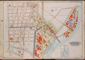 Queens, V. 2, Double Page Plate No. 4; Part of Long Island City, Ward 1; [Map bounded by Van Pelt St., Newtown Creek, Dutch Kills Canal, Nelson Ave.]