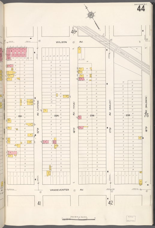 Queens V. 2, Plate No. 44 [Map bounded by Wilson Ave., 18th Ave., Vandeventer Ave., 14th Ave.]