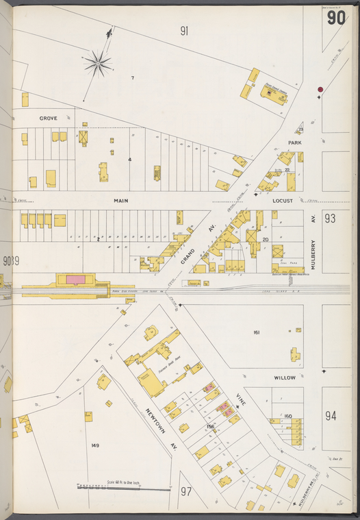 Queens V. 3, Plate No. 90 [Map bounded by Grove, Mulberry Ave., Newtown Ave.]
