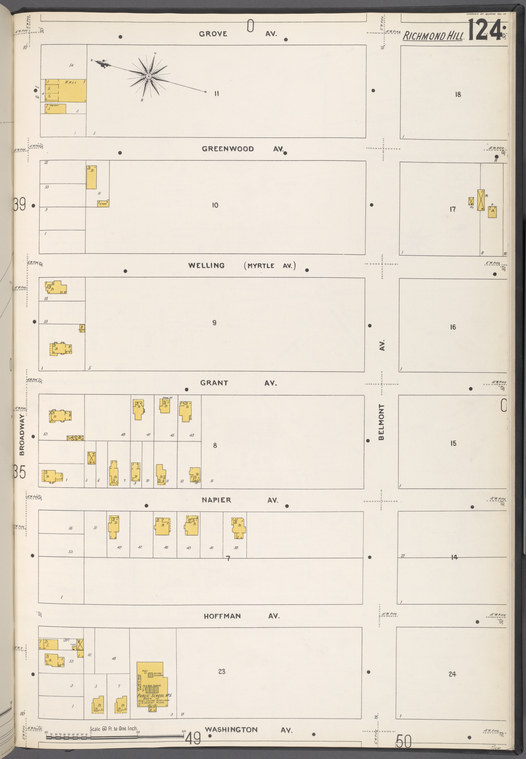 Queens V. 4, Plate No. 124 [Map bounded by Grove Ave., Belmont Ave., Washington Ave., Broadway]