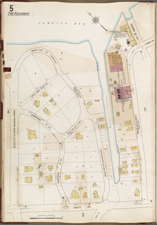 Queens V. 8, Plate No. 5 [Map bounded by Dickens St., Beach 24th St. North, Mott Ave., Beach 28th St. North]