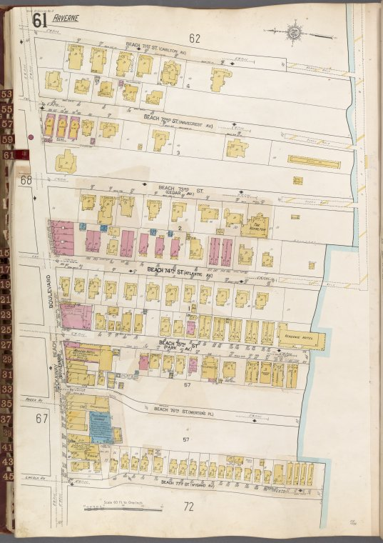 Queens V. 8, Plate No. 61 [Map bounded by Beach 71st St., Beach 77th St., Rockaway Beach Blvd.]