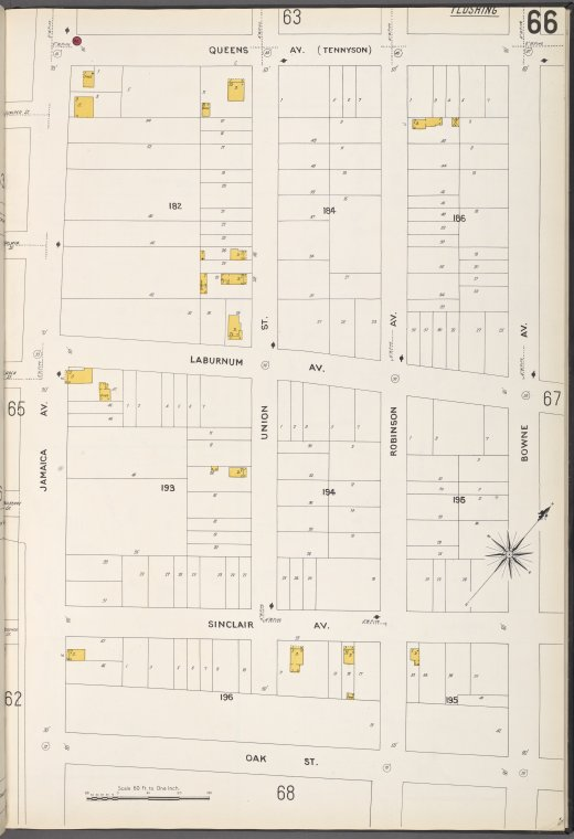 Queens V. 5, Plate No. 66 [Map bounded by Queens Ave., Bowne Ave., Oak St., Jamaica Ave.]