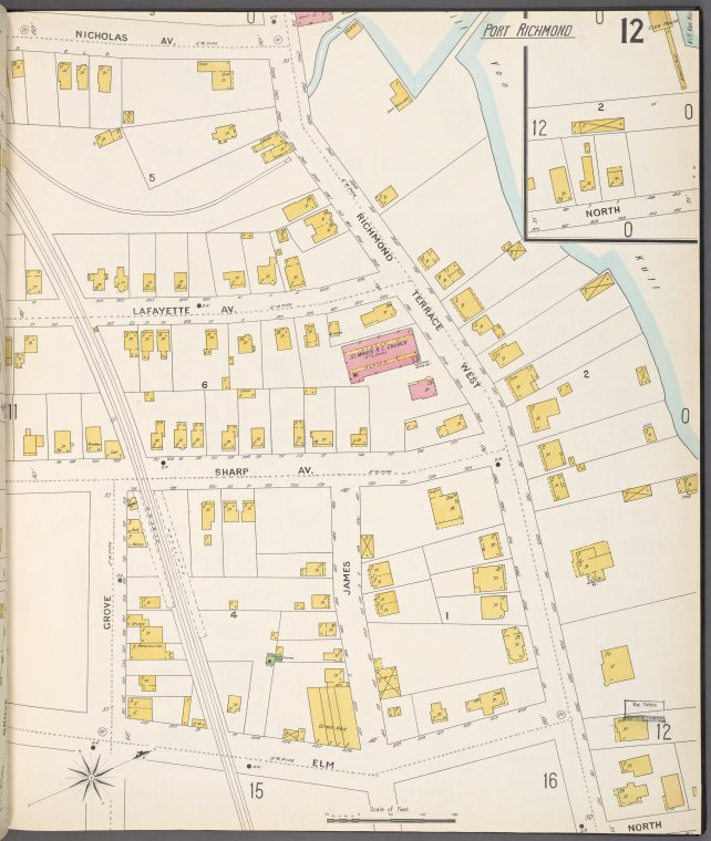 Richmond, Plate No. 12 [Map bounded by Nicholas Ave., Richmond Terrace West, Elm, Grove]