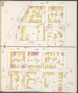 Staten Island, V. 1, Plate No. 21 [Map bounded by Broad, Clarke, Meadow, Warren, Gordon, Quinn]