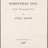 Portfolio one ... (Title page)
