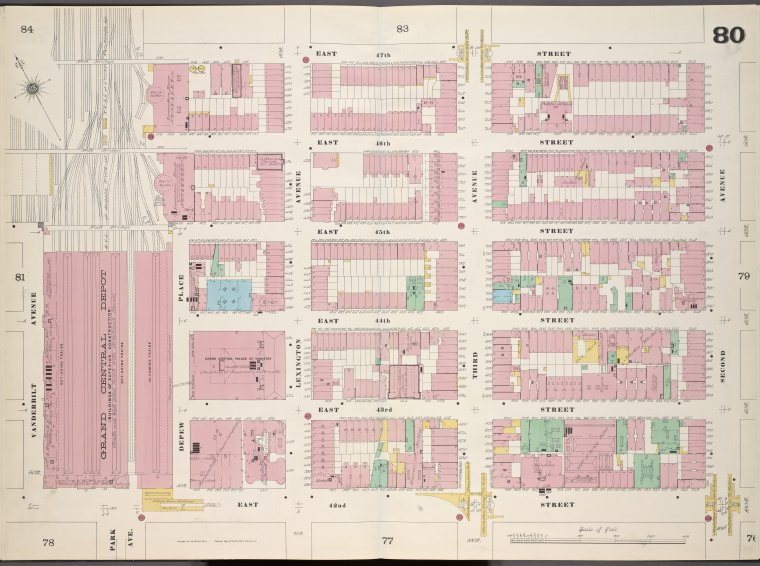 Manhattan, V. 4, Double Page Plate No. 80 [Map bounded by East 47th St., 2nd Ave., East 42nd St., Vanderbilt Ave.]