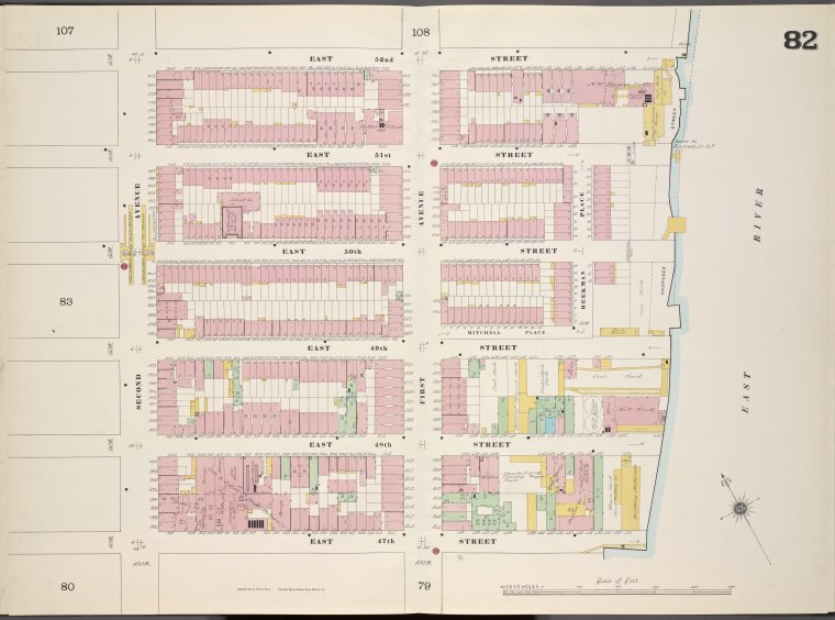 Manhattan, V. 4, Double Page Plate No. 82 [Map bounded by East 52nd St., East River, East 47th St., 2nd Ave.]