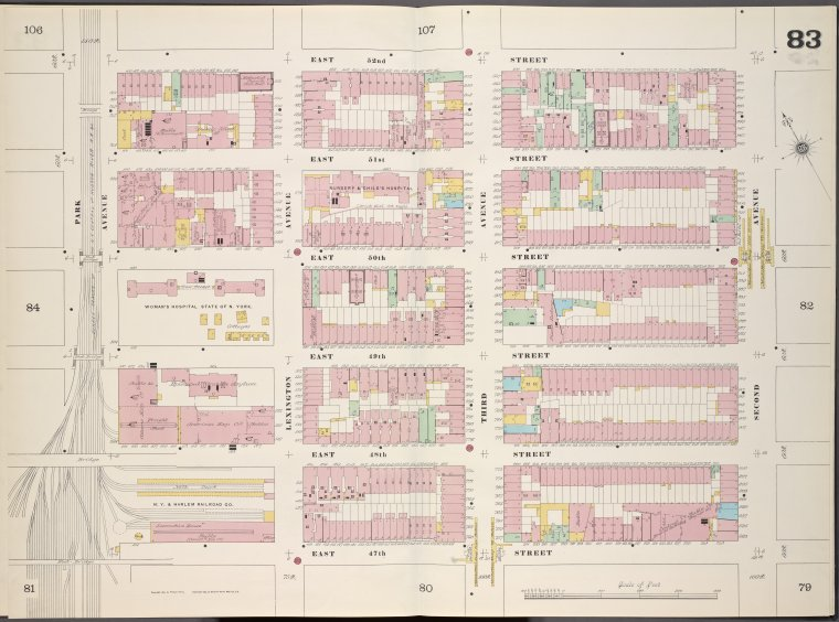 Manhattan, V. 4, Double Page Plate No. 83 [Map bounded by East 52nd St., 2nd Ave., East 47th St., Park Ave.]