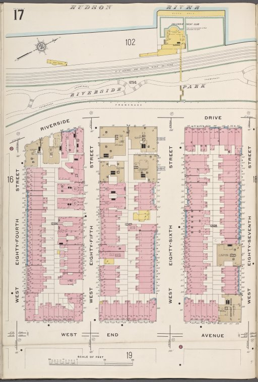 Manhattan V. 7, Plate No. 17 [Map bounded by Hudson River, W. 87th St., West End Ave., W. 84th St.]