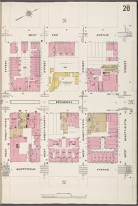 Manhattan V. 7, Plate No. 28 [Map bounded by West End Ave., W. 96rd St., Amsterdam Ave., W. 93rd St.]