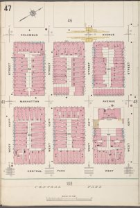 Manhattan V. 7, Plate No. 47 [Map bounded by Columbus Ave., W. 105th St., Central Park West, W. 102nd St.]