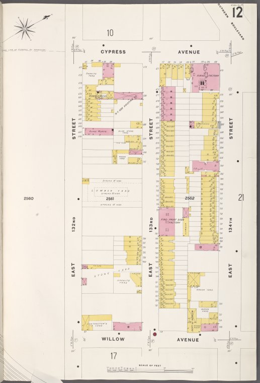 Bronx, V. 9, Plate No. 12 [Map bounded by Cypress Ave., E. 134th St., Willow Ave., E. 132nd St.]
