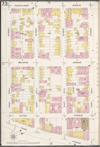 Bronx, V. 9, Plate No. 73 [Map bounded by Courtlandt Ave., E. 156th St., 3rd Ave., E. 153rd St.]