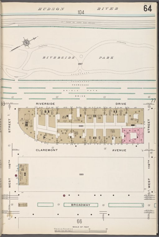 Manhattan V. 7, Plate No. 64 [Map bounded by Hudson River, W. 119th St., Broadway, W. 116th St.]