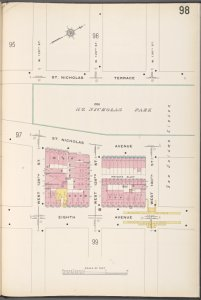 Manhattan V. 7, Plate No. 98 [Map bounded by St. Nicholas Terrace, W. 130th St., 8th Ave., W. 128th St.]