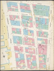 Manhattan, V. 1, Plate No. 3 west half [Map bounded by Dey St., Trinity Pl., Church St., Rector St., West St.]