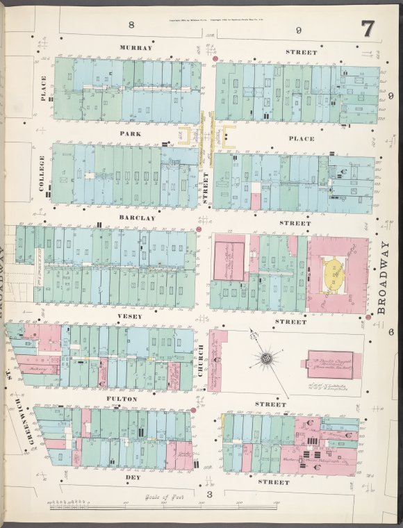 Manhattan, V. 1, Plate No. 7 [Map bounded by Murray St., Broadway, Dey St., College Pl.]