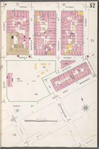 Manhattan, V. 1, Plate No. 52 [Map bounded by Grand St., Clinton St., Canal St., Essex St.]