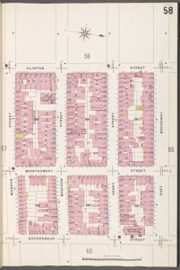 Manhattan, V. 1, Plate No. 58 [Map bounded by Clinton St., E. Broadway, Gouverneur St., Monroe St.]