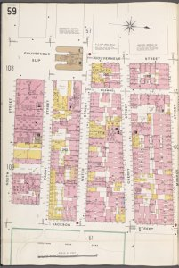 Manhattan, V. 1, Plate No. 59 [Map bounded by Gouverneur St., Monroe St., Jackson St., South St.]
