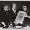 Women's Division of the Hebrew Immigrant Society presents Scroll of Honor to Professor Raphael Lemkin
