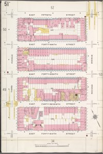 Manhattan, V. 4, Plate No. 51 [Map bounded by E. 50th St., 2nd Ave., E. 46th St., 3rd Ave.]