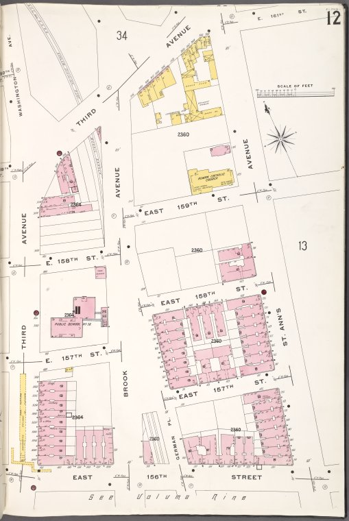 Bronx, V. 10, Plate No. 12 [Map bounded by 3rd Ave., St. Ann's Ave., E. 156th St.]