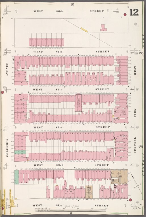 Manhattan, V. 7, Plate No. 12 [Map bounded by W. 86th St., Central Park West, W. 81st St., Columbus Ave.]