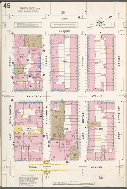 Manhattan, V. 6, Plate No. 45 [Map bounded by Park Ave., E. 61st St., 3rd Ave., E. 58th St.]