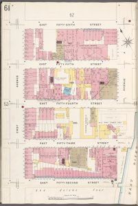 Manhattan, V. 6, Plate No. 61 [Map bounded by E. 56th St., Avenue A, E. 52nd St., 1st Ave.]