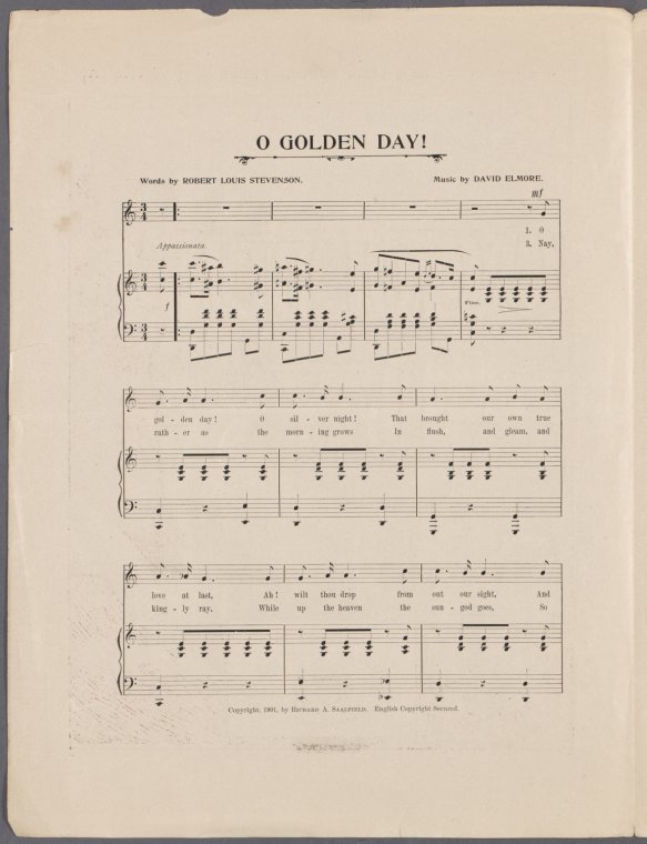 This is What Robert Louis Stevenson and O golden day! [first line] Looked Like  in 1901