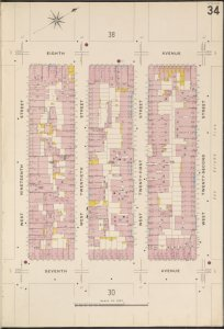 Manhattan, V. 3, Plate No. 34 [Map bounded by 8th Ave., W. 22nd St., 7th Ave., W. 19th St.]