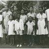 Candid portrait of ten people, women and children