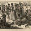 Slave-dealers and slaves - A street scene in Zanzibar.