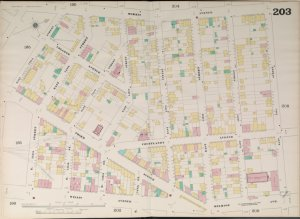 Manhattan, V. 9, Double Page Plate No. 203 [Map bounded by Morris Ave., East 151st St., Melrose Ave., Willis Ave., East 143rd St.]