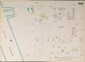 Manhattan, V. 9, Double Page Plate No. 205 [Map bounded by East 150th St., Spencer Pl., East 144th St., Harlem River.]