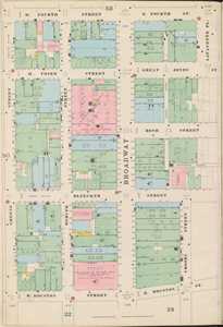 Bronx, V. 3, Double Page Plate No. 49 [Map bounded by E. 4th St., Bowery, E. Houston St., W. Houston St., Greene St., W. 4th St.]