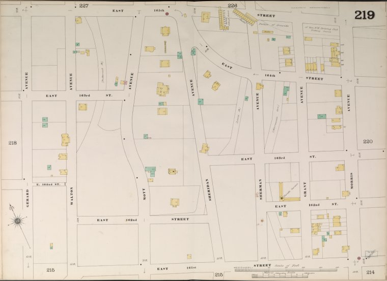 Bronx, V. 10, Double Page Plate No. 219 [Map bounded by E. 165th St., Morris Ave., E. 161st St., Gerard Ave.]