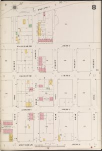 Manhattan, V. 12, Plate No. 8 [Map bounded by Broadway, W. 190th St., Amsterdam Ave., W. 186th St.]
