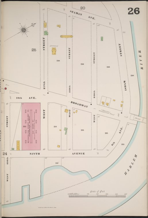 Manhattan, V. 12, Plate No. 26 [Map bounded by Seaman Ave., Harlem River, 9th Ave., W. 216th St.]