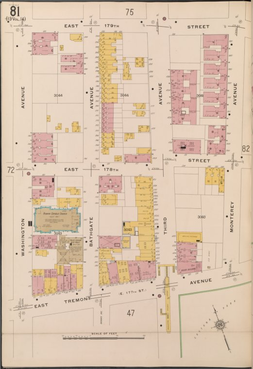 Bronx, V. 15, Plate No. 81 [Map bounded by E. 179th St., Monterey Ave., E. Tremont Ave., Washington Ave.]